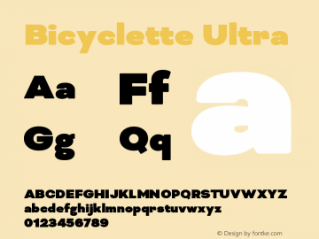 Bicyclette-Ultra Version 1.000;PS 001.001;hotconv 1.0.56 Font Sample