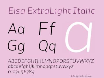Elsa-ExtraLightItalic Version 1.000;图片样张