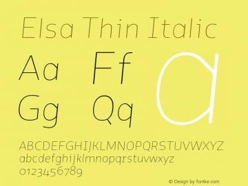 Elsa-ThinItalic Version 1.000;图片样张