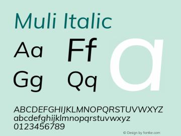 Muli Italic Version 2.000 Font Sample