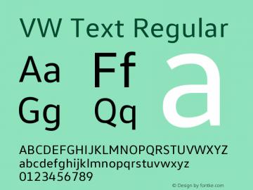 VW Text Version 1.102 Font Sample