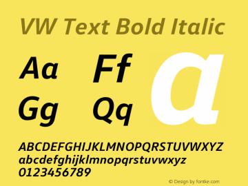 VW Text Bold Italic Version 1.102 Font Sample