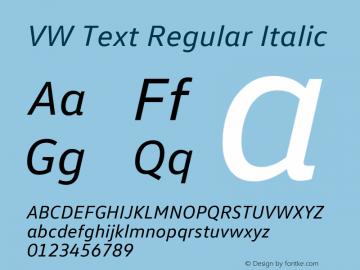 VW Text Italic Version 1.102 Font Sample