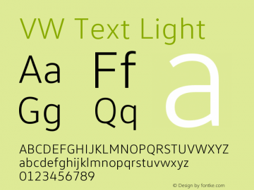 VW Text Light Version 1.102 Font Sample