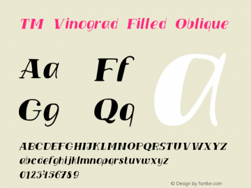 TMVinograd-FilledOblique Version 001.000图片样张