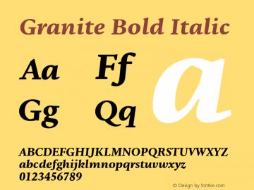 Granite-BoldItalic Version 1.000图片样张