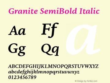 Granite-SemiBoldItalic Version 1.000图片样张