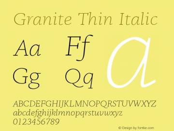 Granite-ThinItalic Version 1.000图片样张