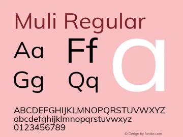 Muli Regular Version 2.100; ttfautohint (v1.8.1.43-b0c9) Font Sample
