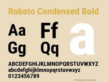 Roboto Condensed Bold Version 2.137; 2017图片样张