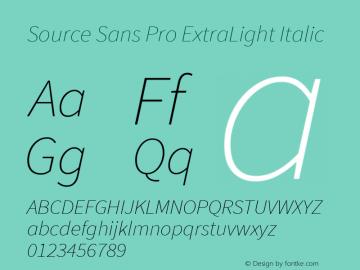 Source Sans Pro ExtraLight Italic Version 1.076;PS 2.000;hotconv 1.0.86;makeotf.lib2.5.63406图片样张