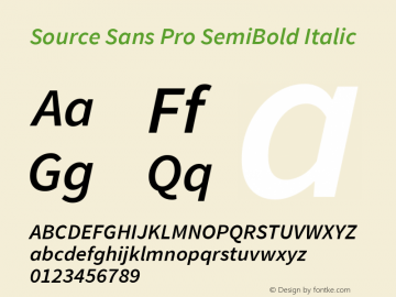 Source Sans Pro SemiBold Italic Version 1.076;PS 2.000;hotconv 1.0.86;makeotf.lib2.5.63406图片样张