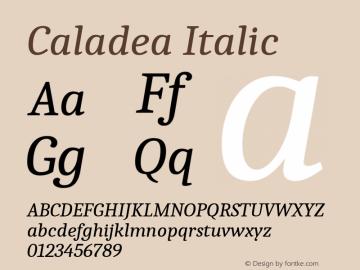 Caladea Italic Version 1.001图片样张