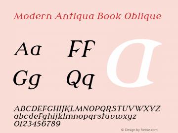 Modern Antiqua Book Oblique Version 3.0.0; 2020-03-03 Font Sample