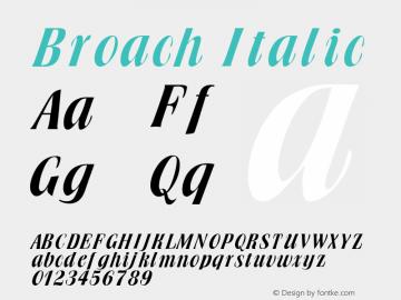 Broach Italic Altsys Fontographer 4.1 1/30/95 Font Sample