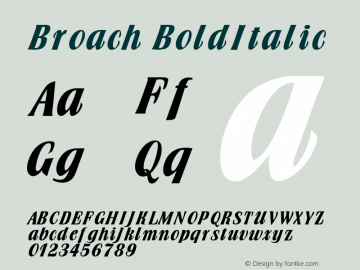 Broach BoldItalic Altsys Fontographer 4.1 1/30/95 Font Sample