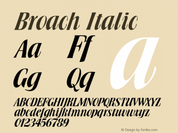 Broach Italic Altsys Fontographer 4.1 11/14/95 Font Sample