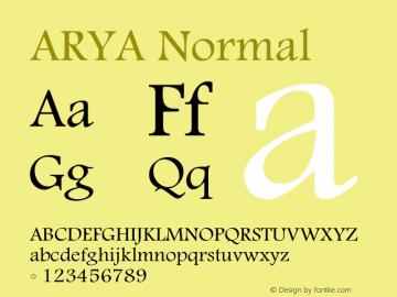 ARYA Normal Macromedia Fontographer 4.1 16/09/97 Font Sample