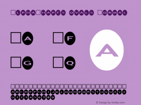 AlphaShapes ovals Normal 1.0 - Foopyware - use keys a to z, 0 to 9 Font Sample