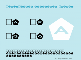 AlphaShapes pentagons Normal 1.0 - Foopyware - use keys a to z, 0 to 9 Font Sample