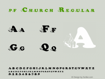 pf_Church Regular 2001; 1.0, initial release Font Sample
