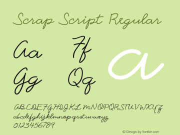 Scrap Script Regular 7/25/1998 Font Sample