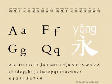 汉呈王天喜宋变拼音体 Version 1.00 March 9, 2020, initial release图片样张