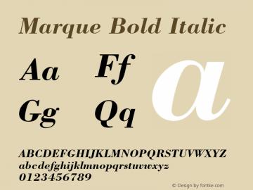 Marque Bold Italic Font Version 2.6; Converter Version 1.10 Font Sample