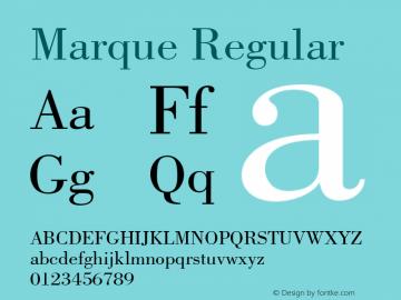 Marque Regular Font Version 2.6; Converter Version 1.10 Font Sample