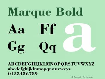 Marque Bold Font Version 2.6; Converter Version 1.10 Font Sample