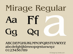 Mirage Regular Font Version 2.6; Converter Version 1.10图片样张