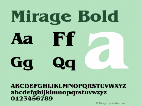 Mirage Bold Font Version 2.6; Converter Version 1.10 Font Sample