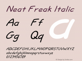 Neat Freak Italic Altsys Fontographer 4.1 5/24/96 Font Sample