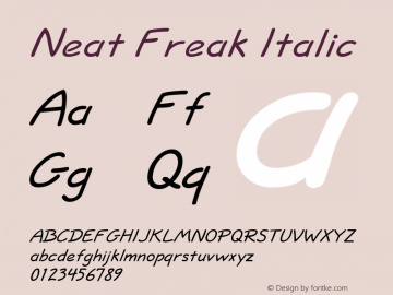Neat Freak Italic Altsys Fontographer 4.1 5/24/96 Font Sample