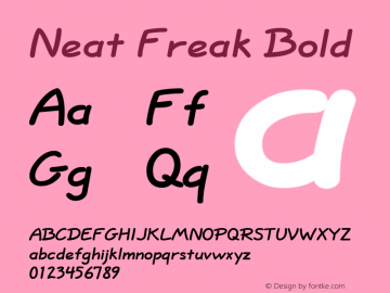 Neat Freak Bold Altsys Fontographer 4.1 5/24/96 Font Sample