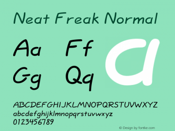 Neat Freak Normal Altsys Fontographer 4.1 5/24/96 Font Sample