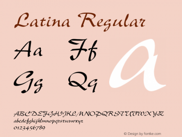 Latina Regular Font Version 2.6; Converter Version 1.10 Font Sample