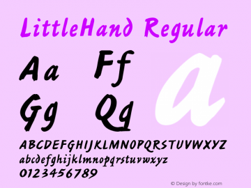 LittleHand Regular Font Version 2.6; Converter Version 1.10 Font Sample