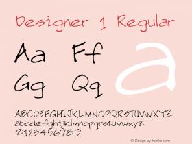 Designer 1 Regular Macromedia Fontographer 4.1 5/20/96 Font Sample
