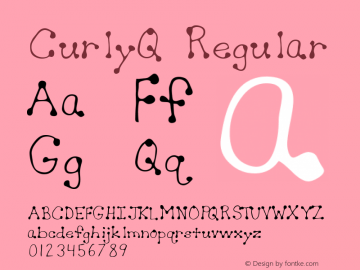 CurlyQ Regular Macromedia Fontographer 4.1 5/30/96图片样张