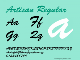 Artisan Regular Font Version 2.6; Converter Version 1.10 Font Sample