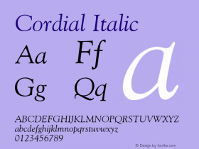 Cordial Italic Font Version 2.6; Converter Version 1.10 Font Sample