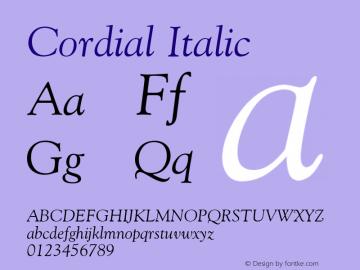 Cordial Italic Font Version 2.6; Converter Version 1.10 Font Sample