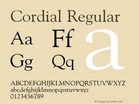 Cordial Regular Font Version 2.6; Converter Version 1.10 Font Sample