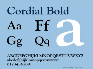 Cordial Bold Font Version 2.6; Converter Version 1.10 Font Sample