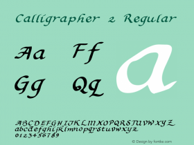Calligrapher 2 Regular Macromedia Fontographer 4.1 5/31/96 Font Sample