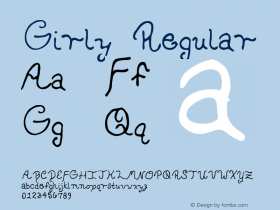 Girly Regular Macromedia Fontographer 4.1 5/30/96 Font Sample