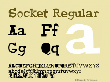 Socket Regular Altsys Fontographer 4.0.2 2003.10.30 Font Sample