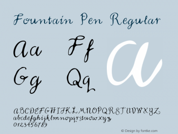 Fountain Pen Regular Macromedia Fontographer 4.1 5/23/96 Font Sample