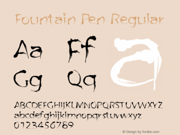 Fountain Pen Regular Macromedia Fontographer 4.1.4 29‐05‐2003 Font Sample